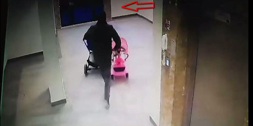 Bebek arabası hırsızı kameradan kaçamadı