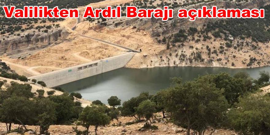 Valilikten Ardıl Barajı açıklaması
