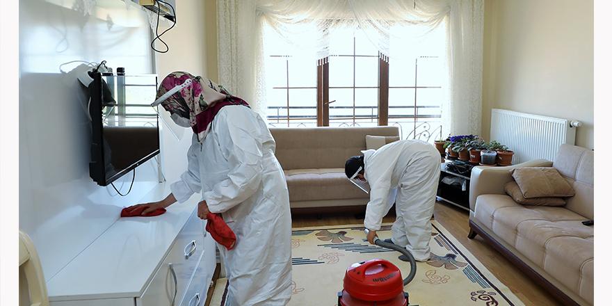Evleri temizlenip, dezenfekte edildi