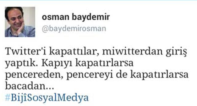 Baydemir'den Twıtter yorumu