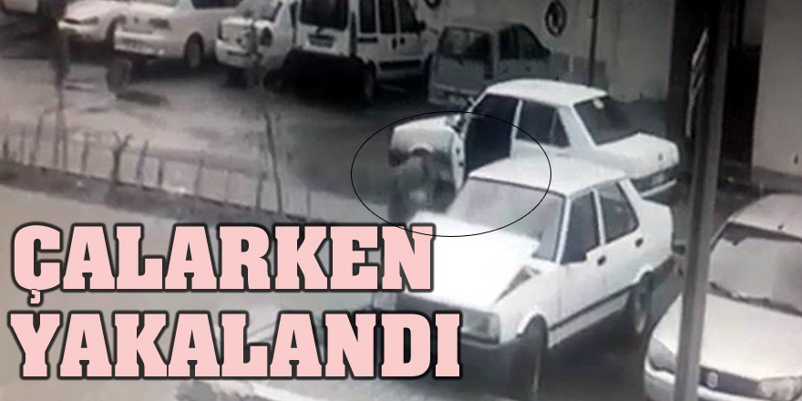 Aracın aküsünü sökerek çaldı, kameralara yakalandı