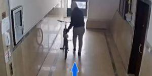 Bisiklet hırsızlığı güvenlik kamerasında