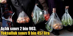 Açlık sınırı 2 bin 903, Yoksulluk sınırı 9 bin 457 lira