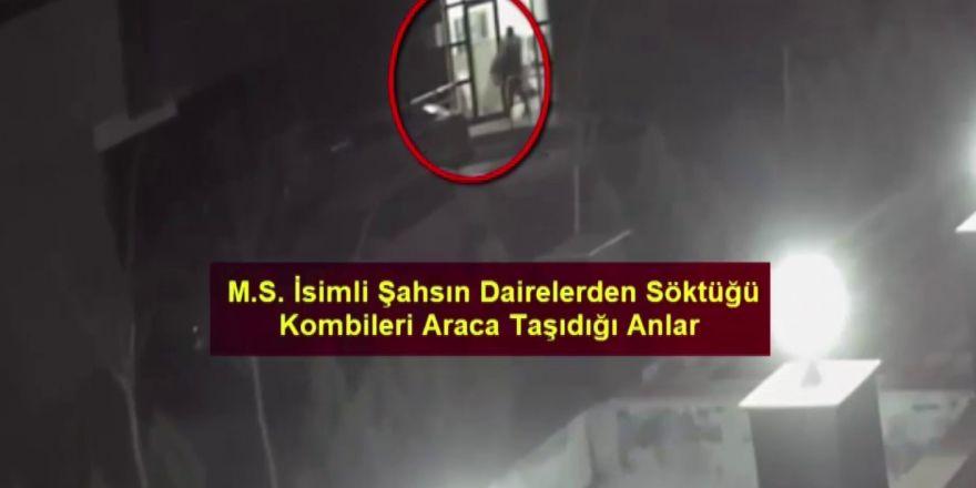 Kombi hırsızı önce güvenlik kamerasına sonra polise yakalandı